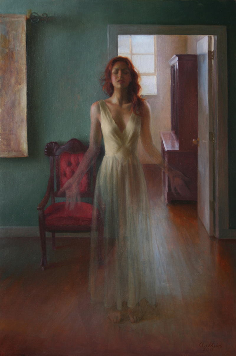 "<em>Self-portrait, disappearing</em> <br />  36"" x 24"" <br />  oil on linen <br />  Adrienne Stein"