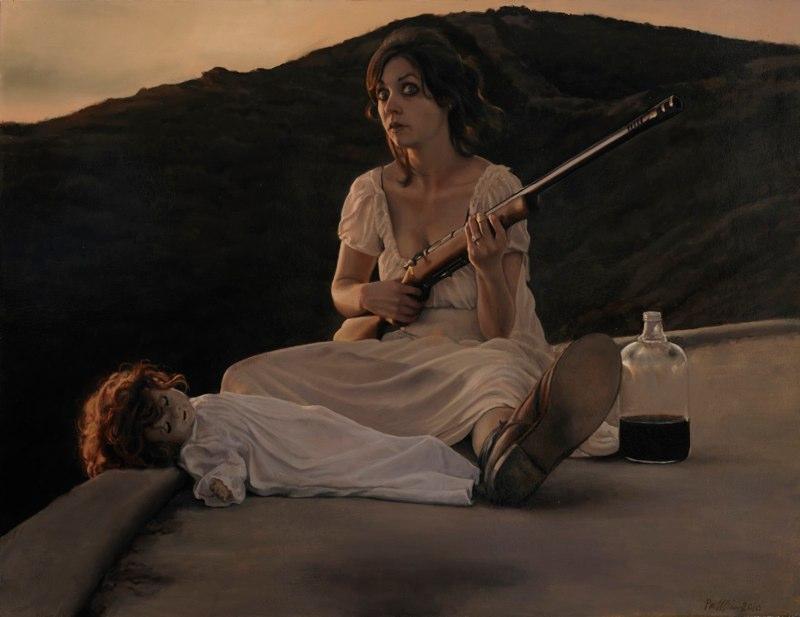 "Sleepwalking with Scarecrows | 36"" x 48"" | oil on canvas | Pamela Wilson"