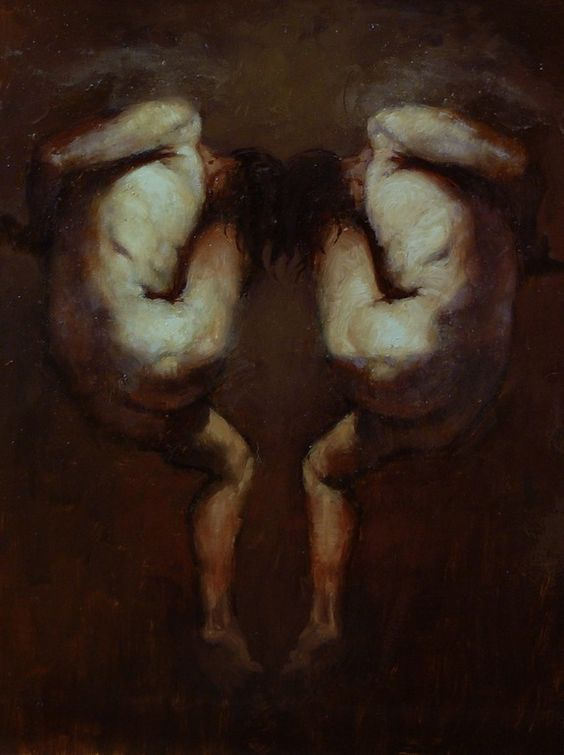 Two Heroes with One Wing | oil on wood | Richard T. Scott | 10 x 8 "