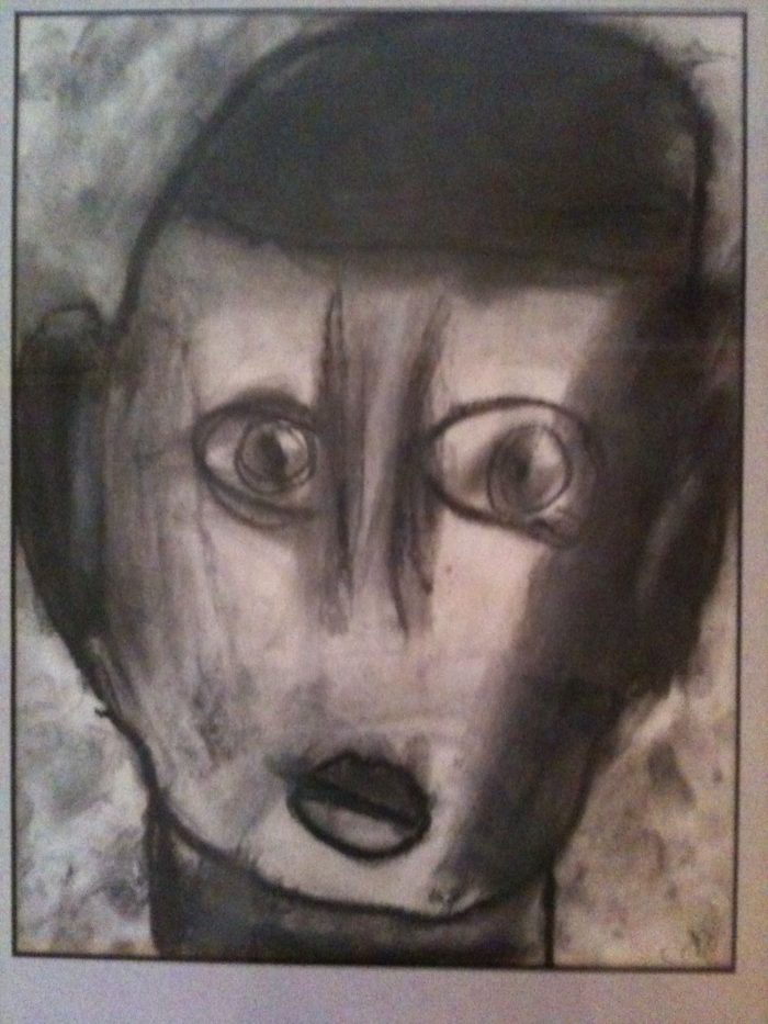 Self-portrait in charcoal | Cole, age 7