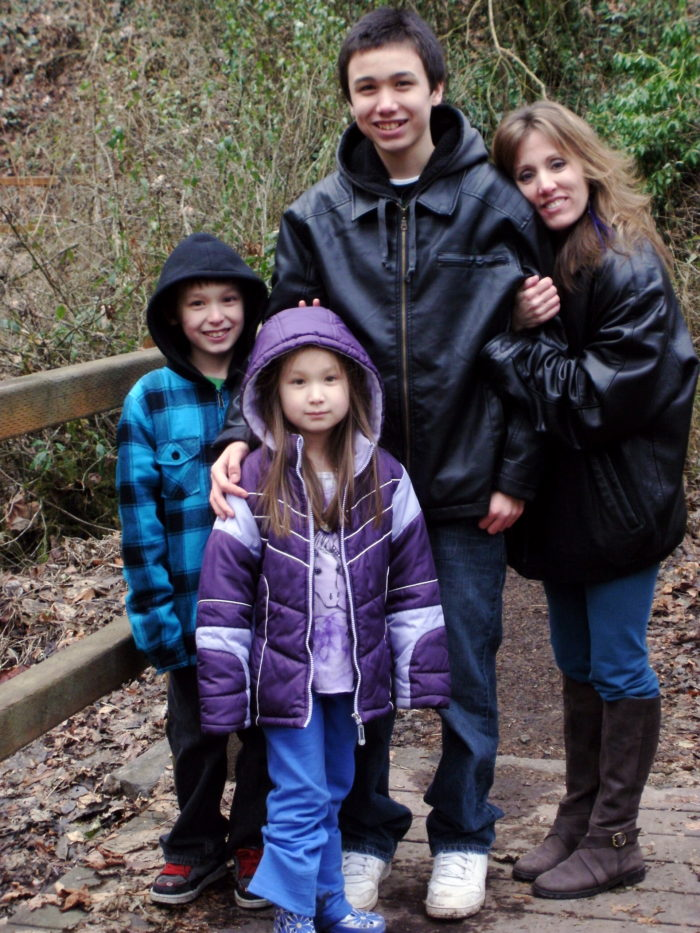 With son Cole and his younger brother and sister at Mary S. Young Park, West Linn, Oregon
