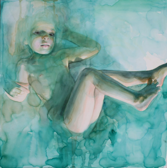 In the Dream She Was Floating Not Completely Submerged | 18 x 18 | Ali Cavanaugh