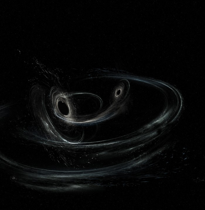 Artist's impression of black holes merging. Courtesy of LIGO website.